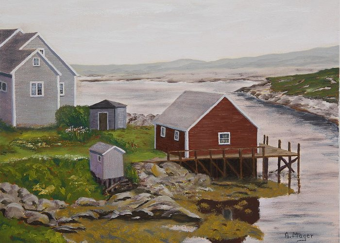 Painting Greeting Card featuring the painting Peggy's Cove by Alan Mager