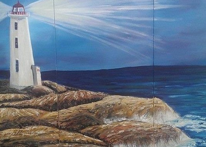 Nova Scotia Greeting Card featuring the painting Peggy's Cove by Donna Bird