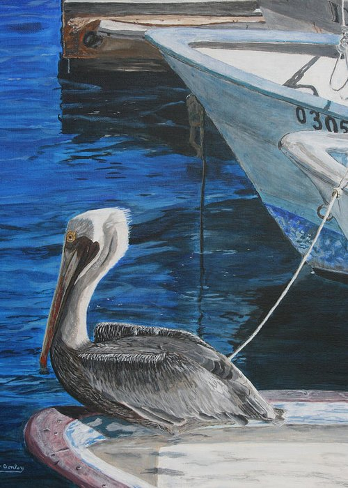 Ocean Greeting Card featuring the painting Pelican On A Boat by Ian Donley