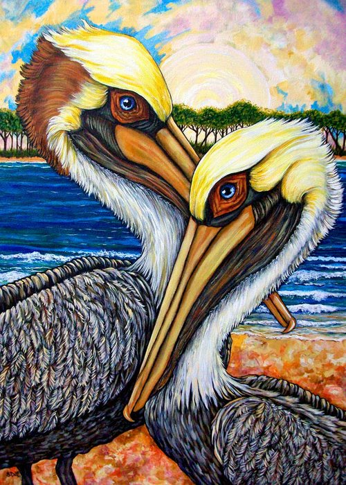 Pelican Greeting Card featuring the painting Pelican Pair by Sherry Dole