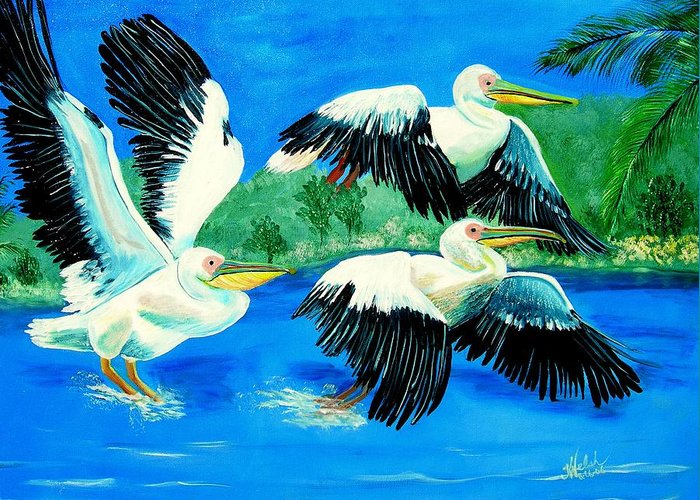Pelican Greeting Card featuring the painting Pelican Trio by Kathern Welsh