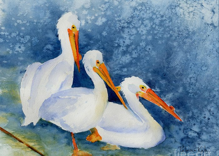 Impressionism Greeting Card featuring the painting Pelicans At The Weir by Pat Katz