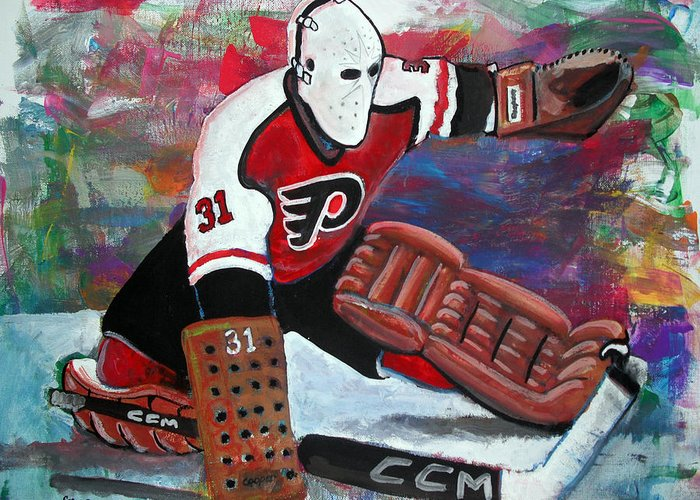 Nhl Greeting Card featuring the painting Pelle Lindbergh by Steve Benton