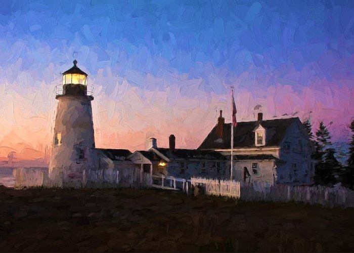 Maine Greeting Card featuring the photograph Pemaquid Point Light At Dawn by Frank Tozier