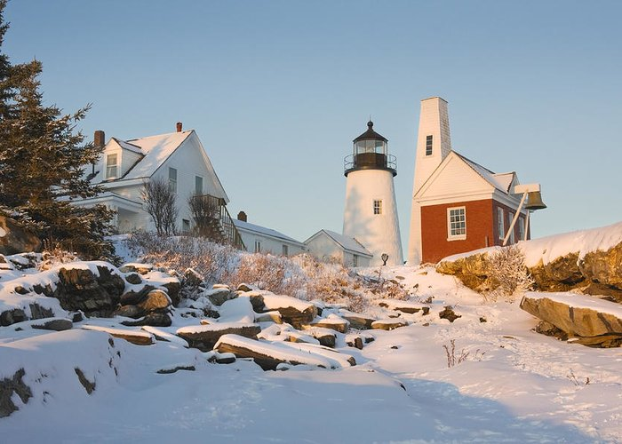 Lighthouse Greeting Card featuring the photograph Pemaquid Point Lighthouse Winter In Maine by Keith Webber Jr
