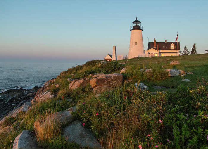 Tranquility Greeting Card featuring the photograph Pemaquid Point Maine Lighthouse by Dave Mention Photography