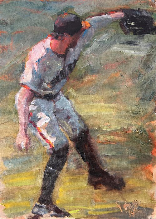 Hunter Pence Sf Giants Painting Baseball Artwork Greeting Card featuring the painting Pence in Right by Darren Kerr