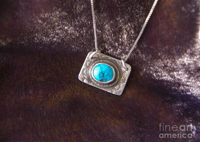 Turquoise Greeting Card featuring the jewelry Pendant With Turquoise by Patricia Tierney