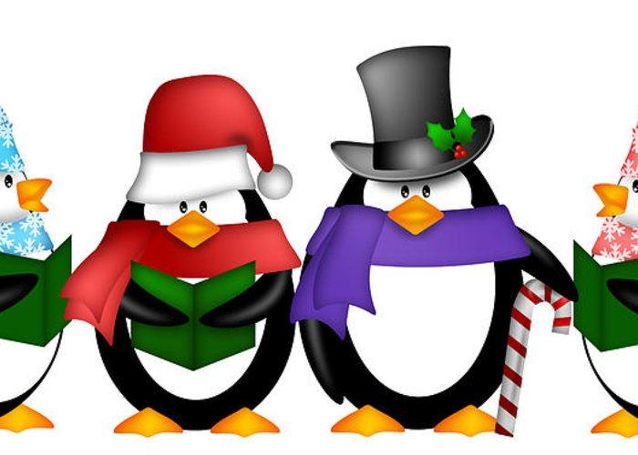 Christmas Carols Clipart.Penguins Singing Christmas Carol Cartoon Clipart Greeting Card