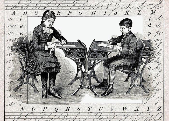 Penmanship Greeting Card featuring the digital art Penmanship by Daniel Hagerman