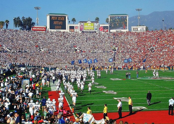 Penn Greeting Card featuring the photograph Penn State Rose Bowl by Benjamin Yeager