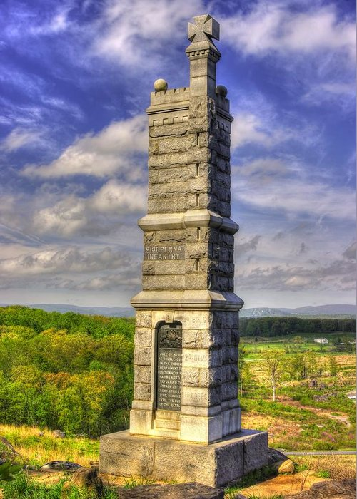 Civil War Greeting Card featuring the photograph Pennsylvania At Gettysburg - 91st Pa Veteran Volunteer Infantry - Little Round Top Spring by Michael Mazaika