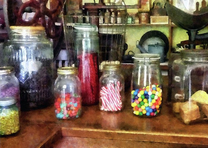 General Store Greeting Card featuring the photograph Penny Candies by Susan Savad
