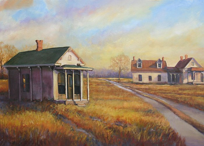 Rural Scenes Greeting Card featuring the painting Penny Hill by Matt Cook