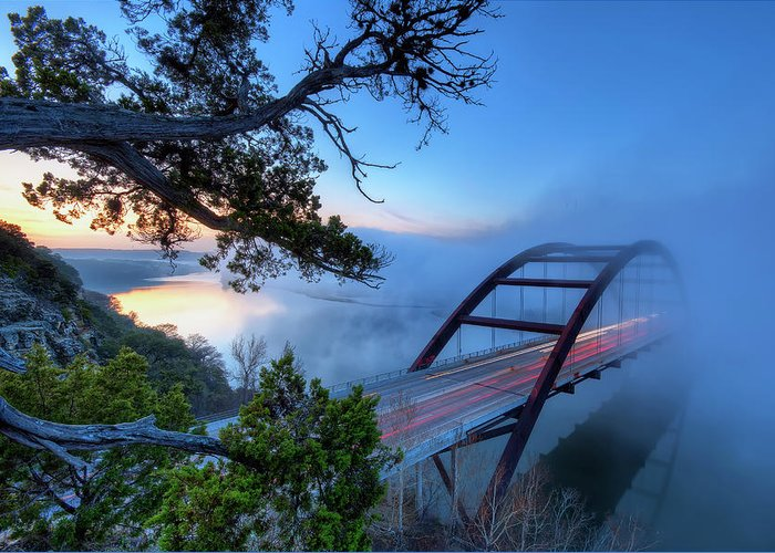 Tranquility Greeting Card featuring the photograph Pennybacker Bridge In Morning Fog by Evan Gearing Photography