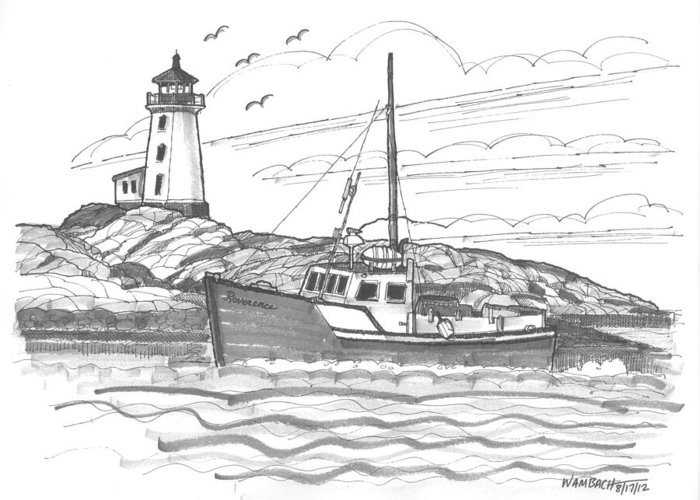 Lighthouse Greeting Card featuring the drawing Peggy's Cove Lighthouse Nova Scotia by Richard Wambach