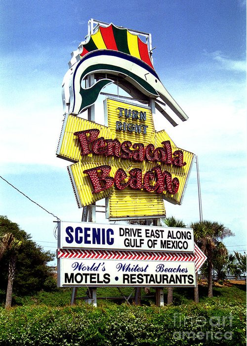 Pensacola Beach Greeting Card featuring the photograph Pensacola Beach Sign by Tom Brickhouse