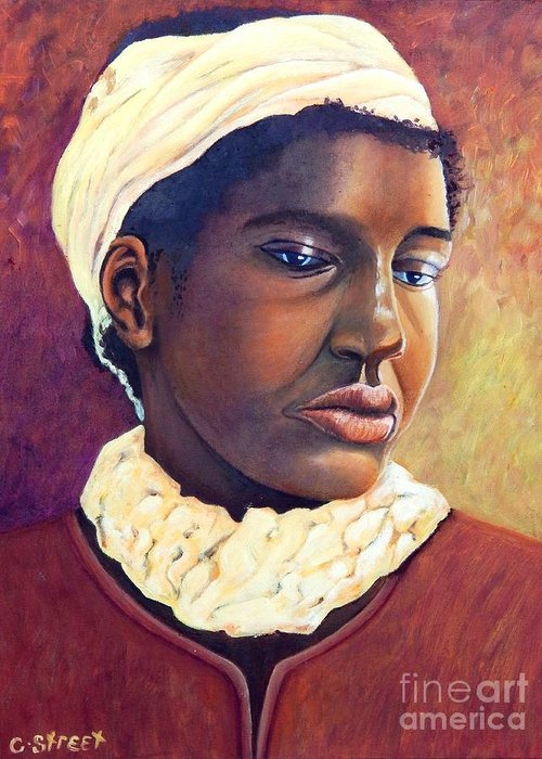 Portrait Greeting Card featuring the painting Pensive Contemplation by Caroline Street