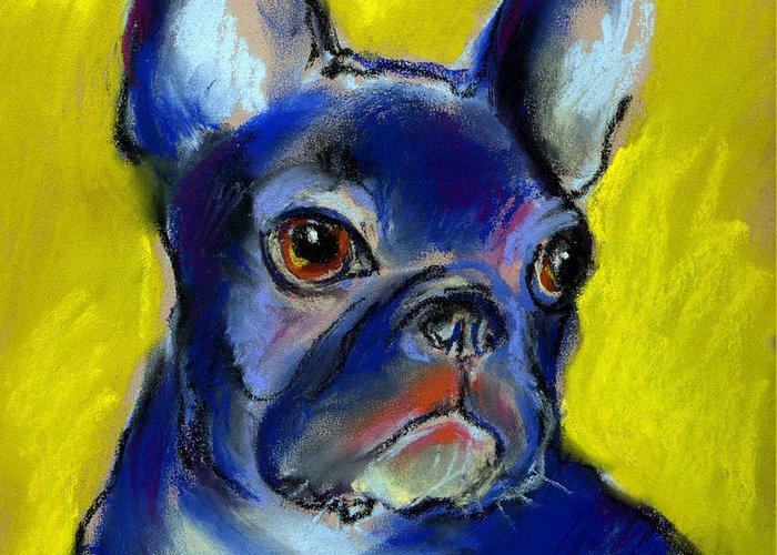 French Bulldog Greeting Card featuring the painting Pensive French Bulldog Portrait by Svetlana Novikova