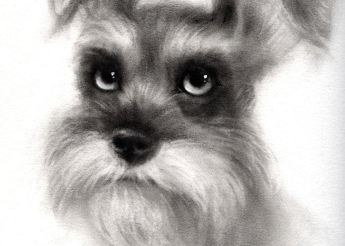 Schnauzer Greeting Card featuring the Pensive Schnauzer Dog Painting by Svetlana Novikova