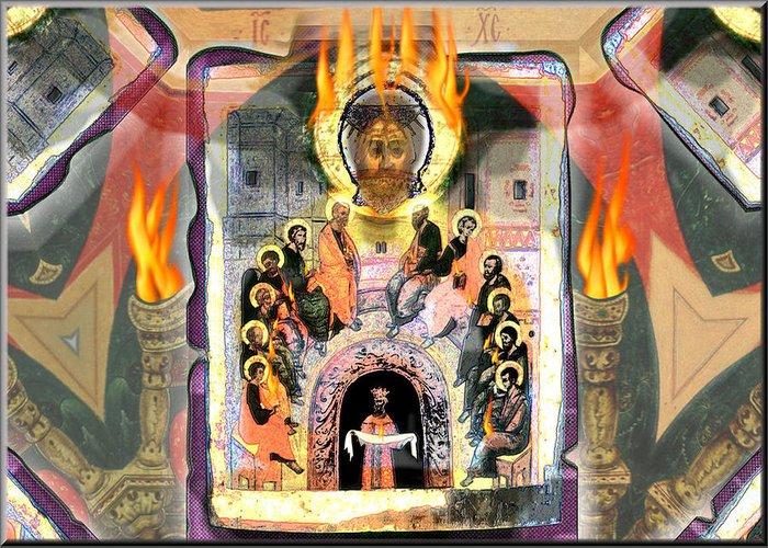Pentecost Greeting Card featuring the digital art Pentecost 2009 by Glenn Bautista