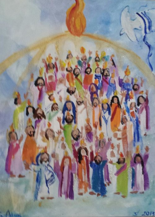 Pentecost Greeting Card featuring the painting Pentecost by Paula Stacy Adams