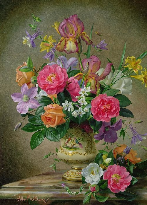Still-life Greeting Card featuring the painting Peonies And Irises In A Ceramic Vase by Albert Williams