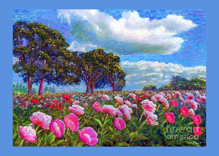 Peony Greeting Card featuring the painting Peony Heaven by Jane Small