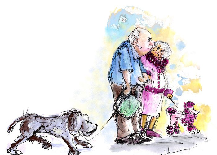 Sketch Greeting Card featuring the painting People And Their Dogs 02 by Miki De Goodaboom