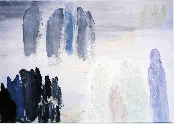 White Landscape Greeting Card featuring the painting People Come And They Go by Bruce Combs - REACH BEYOND