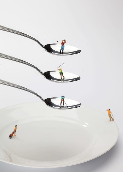 People Greeting Card featuring the painting People Playing Golf On Spoons Little People On Food by Paul Ge