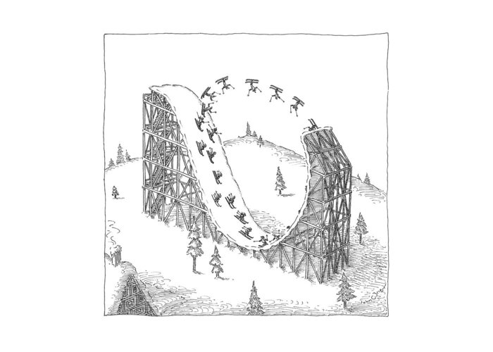 Skiing Greeting Card featuring the drawing People Ski On A Circular Ski Ramp That Resembles by John O'Brien