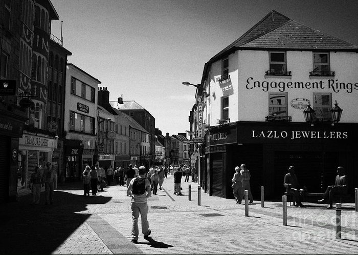 Galway Greeting Card featuring the photograph people walking down pedestrian area william street on a sunday Galway city county Galway Republic of by Joe Fox