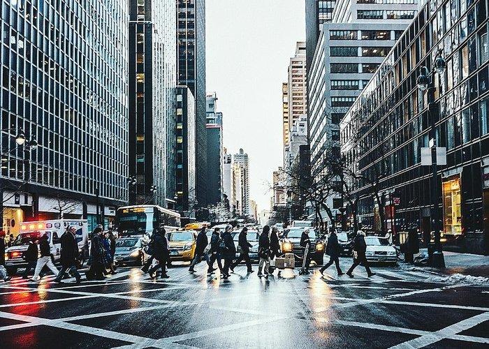 Pedestrian Greeting Card featuring the photograph People Walking On City Street by Sven Hartmann / Eyeem