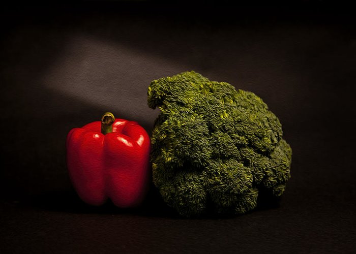 Broccoli Greeting Card featuring the photograph Pepper Nd Brocoli by Peter Tellone