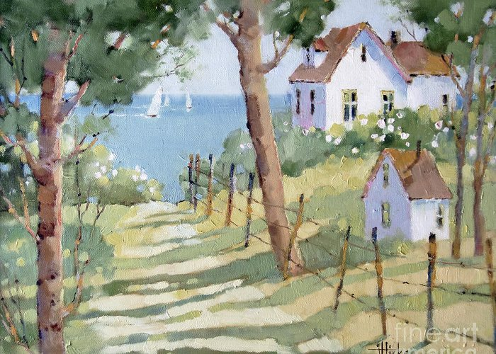 Nantucket Greeting Card featuring the painting Perfectly Peaceful Nantucket by Joyce Hicks