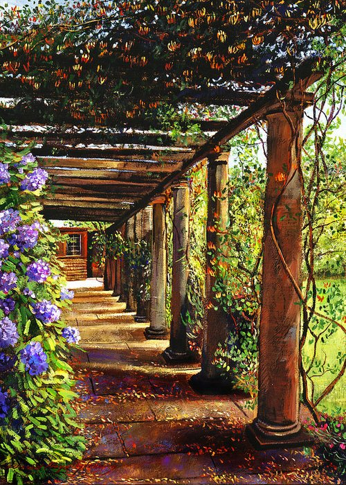 Impressionism Greeting Card featuring the painting Pergola Walkway by David Lloyd Glover