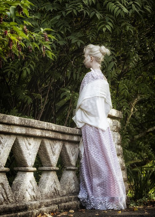 Woman Greeting Card featuring the photograph Period Lady On Bridge by Joana Kruse