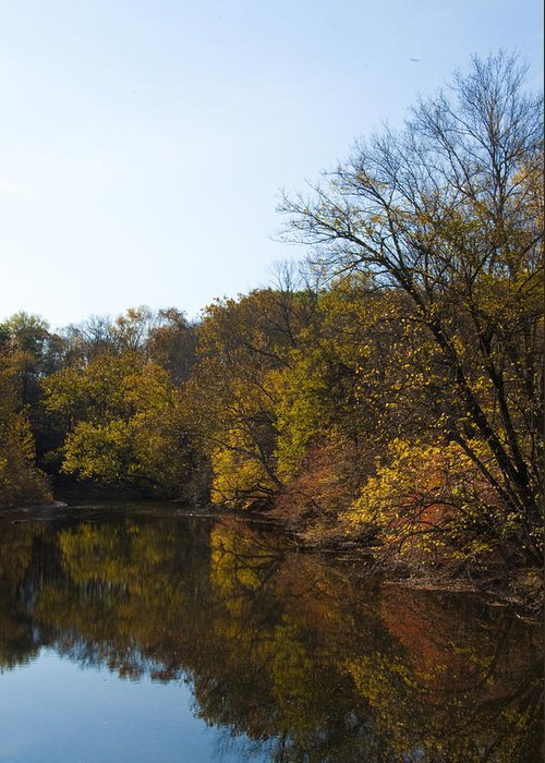 Perkiomen Greeting Card featuring the photograph Perkiomen Creek In Autumn by Bill Cannon