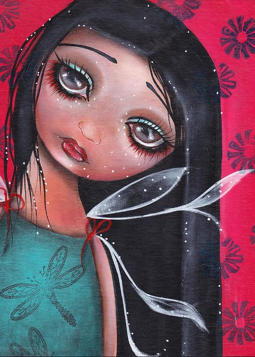 Fairy Greeting Card featuring the painting Perla by Abril Andrade Griffith