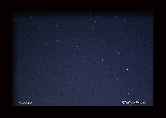 Perseid Meteor Shower Greeting Card featuring the photograph Perseid Meteor by PJQandFriends Photography