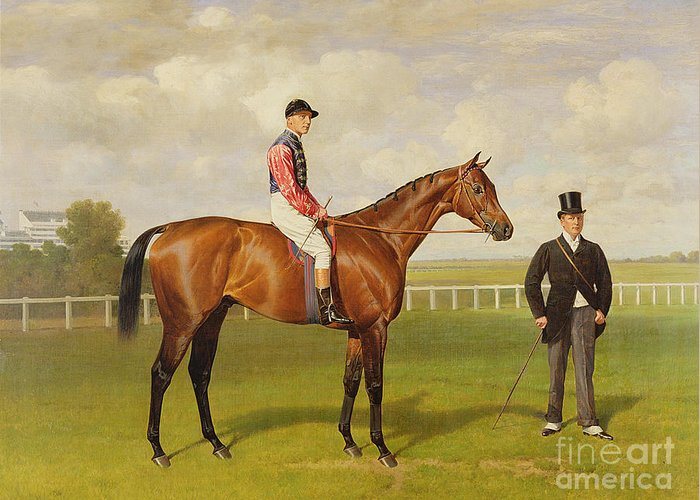Horse Greeting Card featuring the painting Persimmon Winner Of The 1896 Derby by Emil Adam