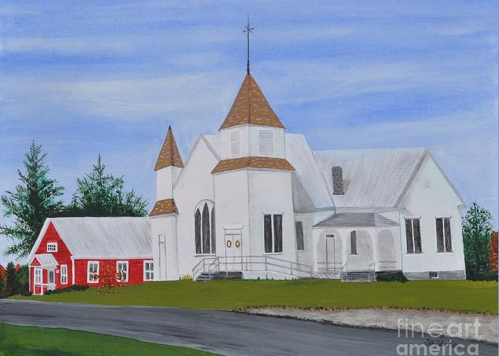 Church Greeting Card featuring the painting Peru Congregational Church by Sally Rice
