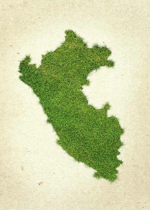 Map Of Peru Greeting Card featuring the photograph Peru Grass Map by Aged Pixel