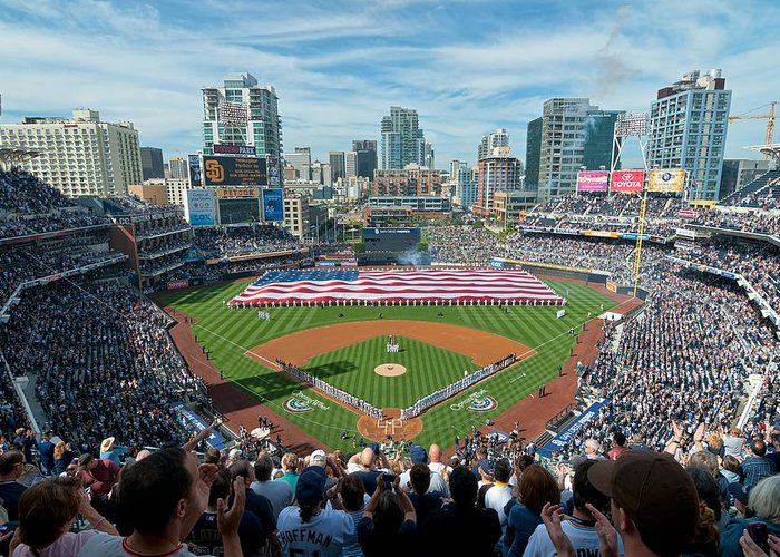 Mark Whitt Greeting Card featuring the photograph Petco Park Season Opener 2011 by Mark Whitt
