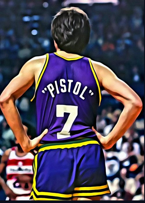 Pete Maravich Greeting Card featuring the painting Pete Maravich by Florian Rodarte