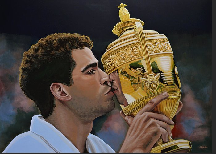 Pete Sampras Greeting Card featuring the painting Pete Sampras by Paul Meijering