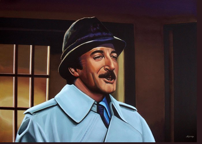 Peter Sellers Greeting Card featuring the painting Peter Sellers As Inspector Clouseau by Paul Meijering