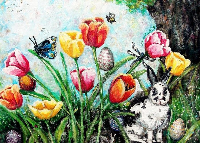 Easter Greeting Card featuring the painting Peters Easter Garden by Shana Rowe Jackson