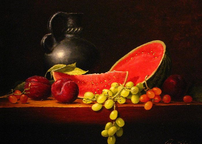 Still Life Greeting Card featuring the painting Petite Watermelon by Sean Taber